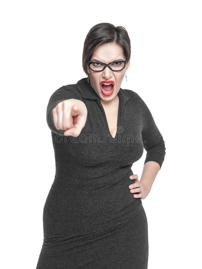 Angry teacher woman pointing out isolated. Over white royalty free stock photography