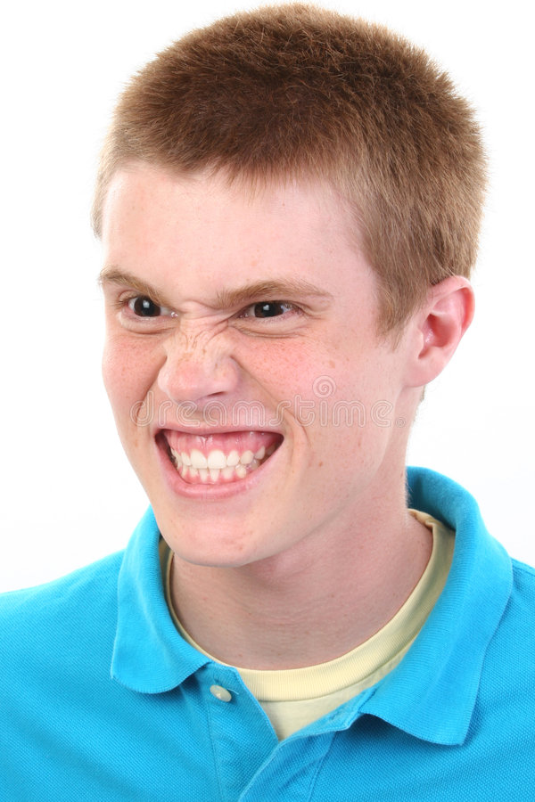 Angry Teen Boy. Close up of angry teen boy royalty free stock photos