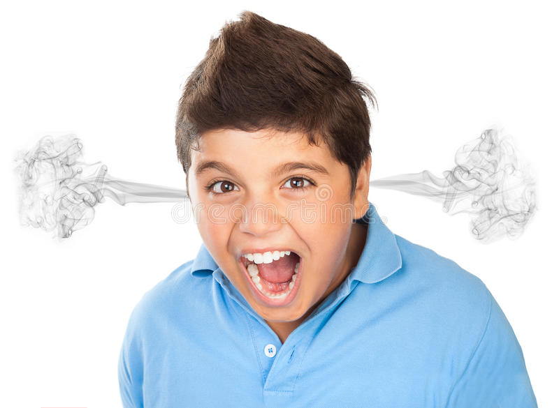 Angry teen boy portrait stock photos
