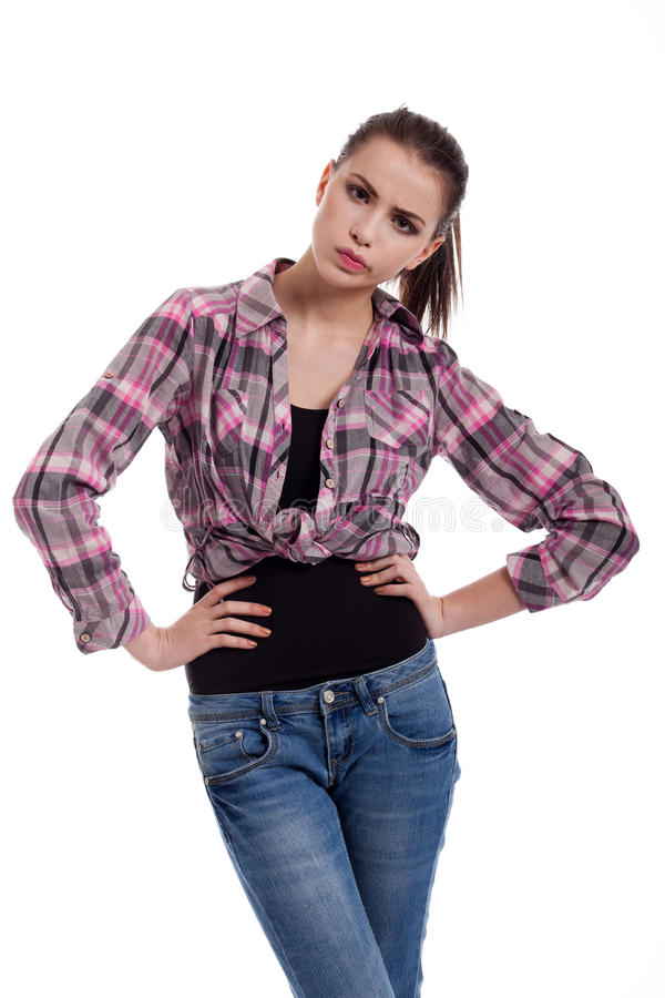 Download Angry teen girl stock photo. Image of portrait, gesture - 25263152