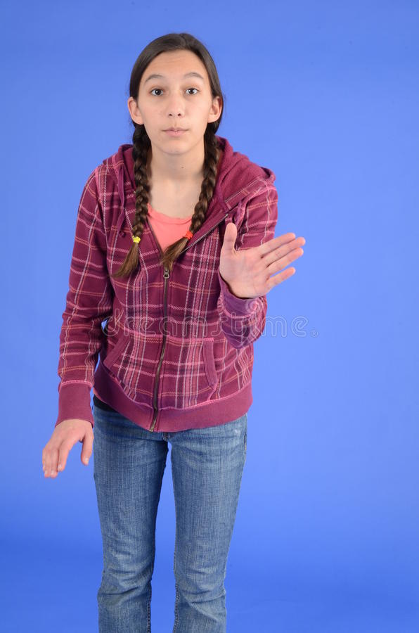 Download Angry Teen Girl With Braids With Hand Up Stock Photo - Image: 22497128