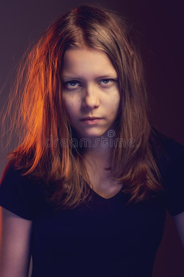 Angry teen girl royalty free stock images