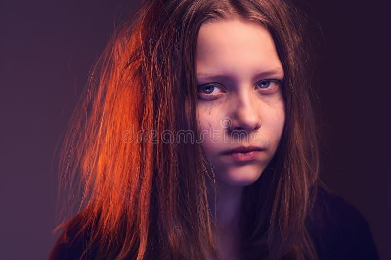 Angry teen girl stock photo