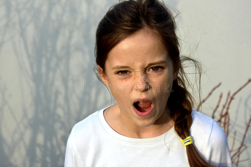 Angry teenager girl royalty free stock photos