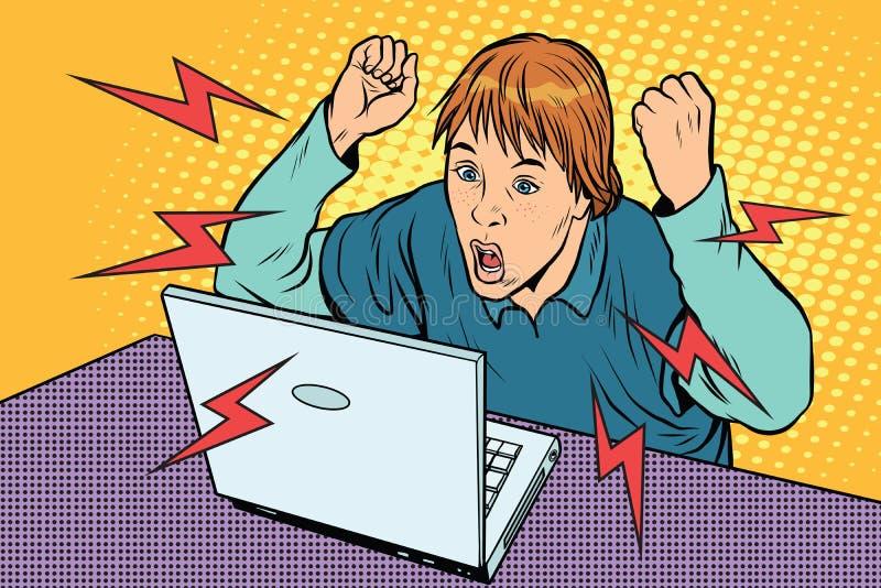 Angry teenager sitting at computer laptop. Pop art retro vector illustration stock illustration