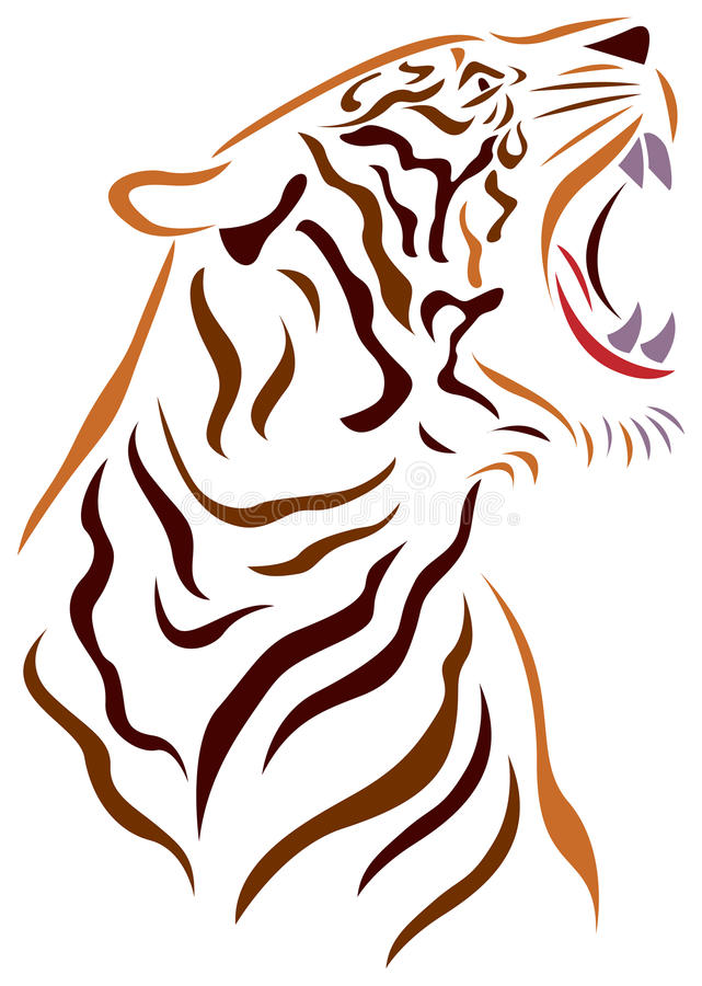 Angry tiger royalty free illustration