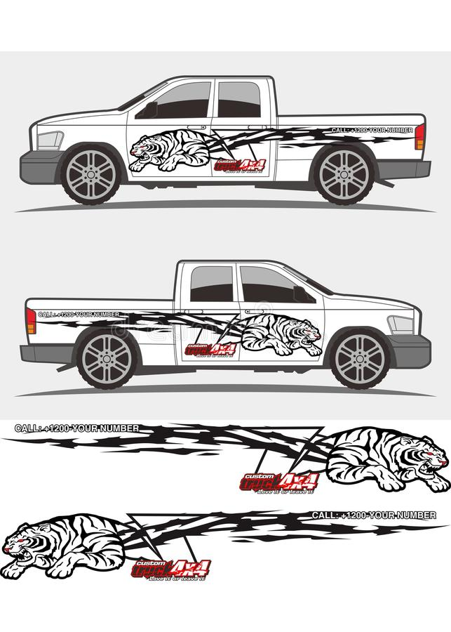 Angry tiger decal graphics for truck and vehicles royalty free illustration
