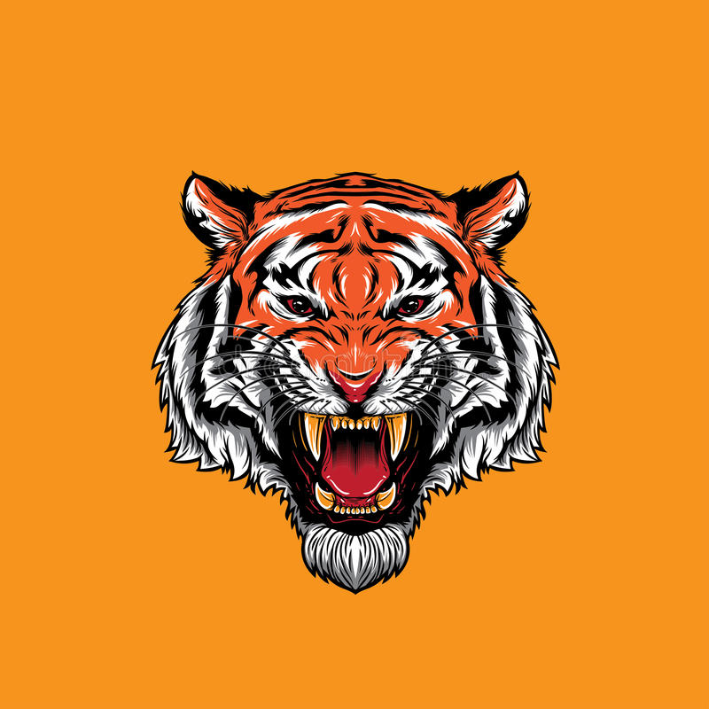 Angry Tiger Face Roaring royalty free illustration