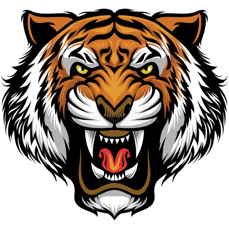 Angry tiger face stock illustration
