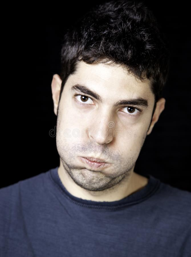 Angry and tired man stock photos