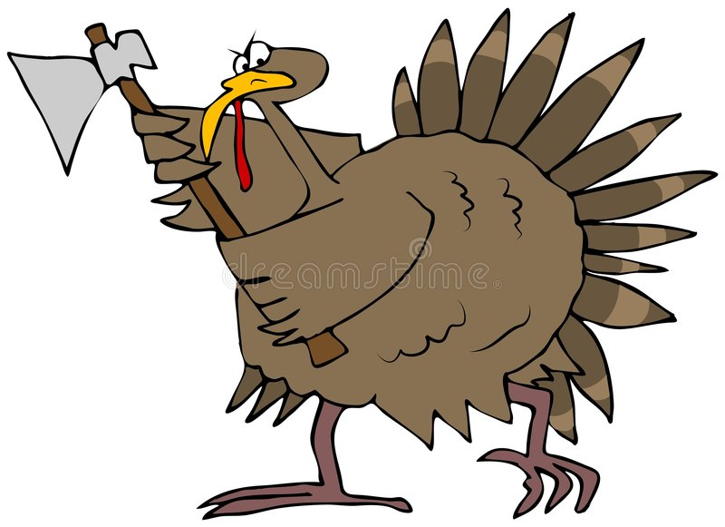 Angry Turkey With An Axe stock illustration