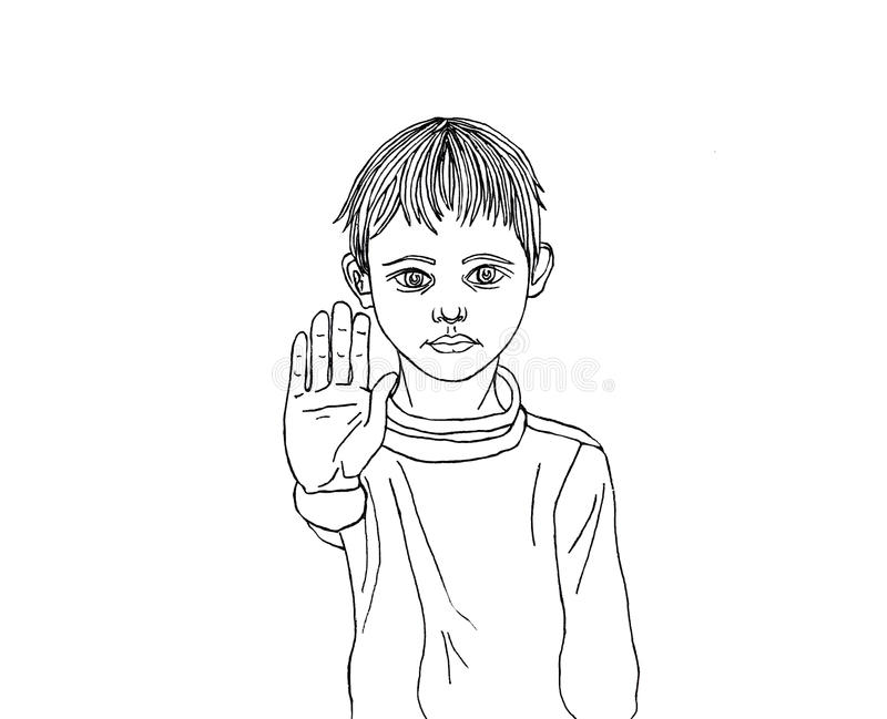 Angry and unhappy boy showing hand sign enough. Against violence. Stop the violence. Drawing a black pen royalty free illustration