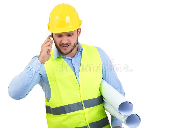 Upset Construction Worker Or Stressed Contractor Man In ...