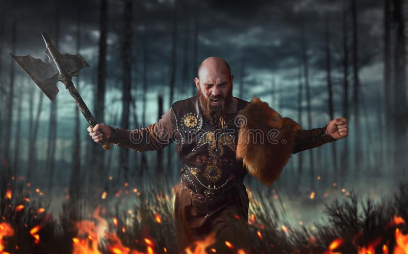 Angry viking with axe, battle in forest. Angry viking with axe dressed in traditional nordic clothes fighting in fire, battle in forest. Scandinavian ancient stock photography