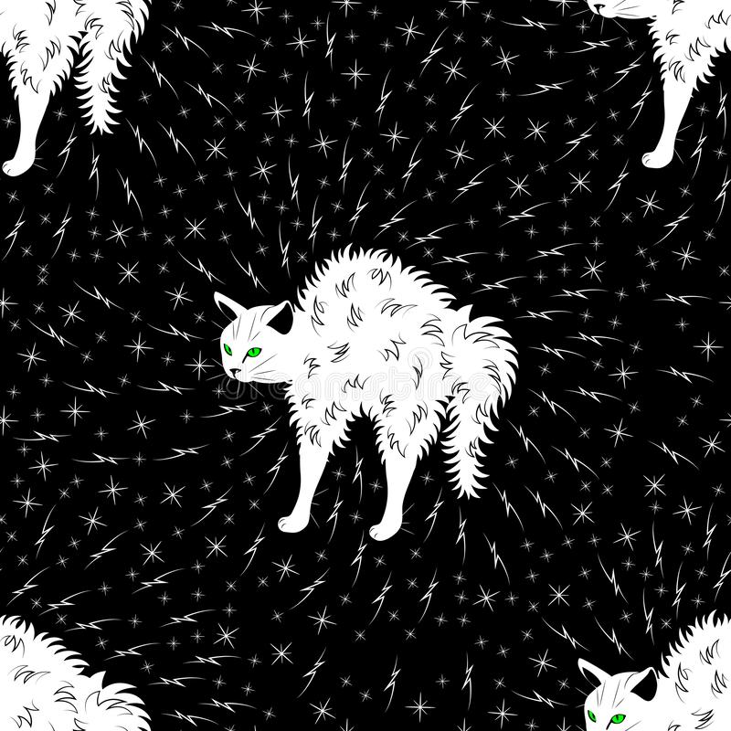 Angry white cat arched his back. Around him are lightning and stars. Seamless pattern.  royalty free illustration