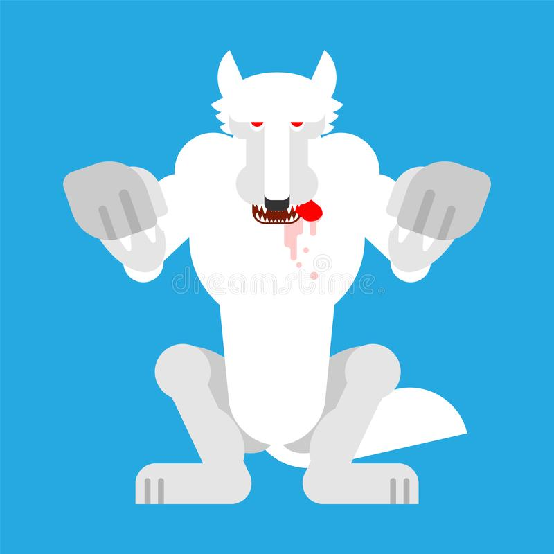 Angry White Wolf attack isolated. Snow Werewolf Predator beast Standing on hind legs. wildlife vector illustration stock illustration
