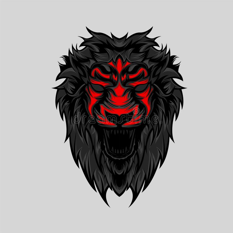 Angry Wild Lion Head Geometric Vector stock image