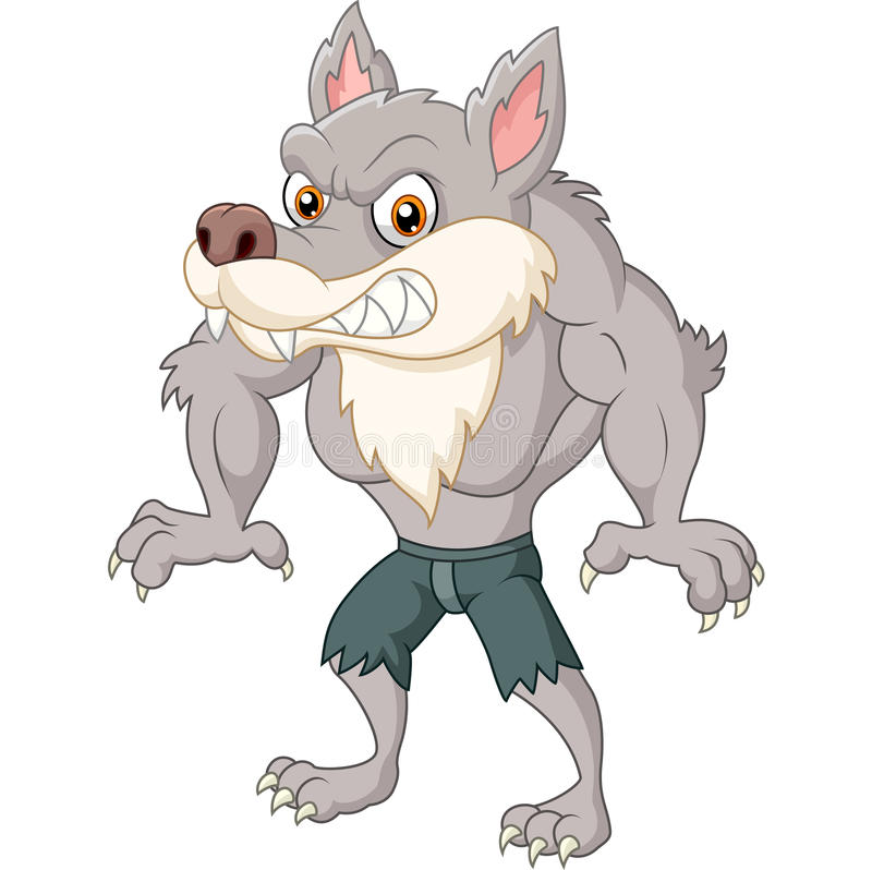 Angry wolf character royalty free illustration