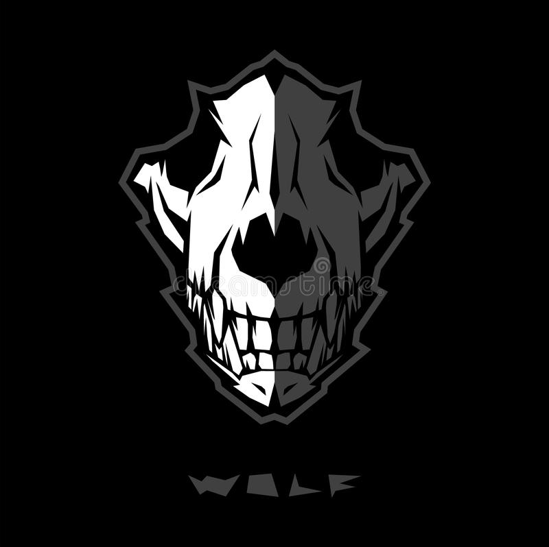Angry wolf head, grey and white wolf skull vector logo design. stock illustration