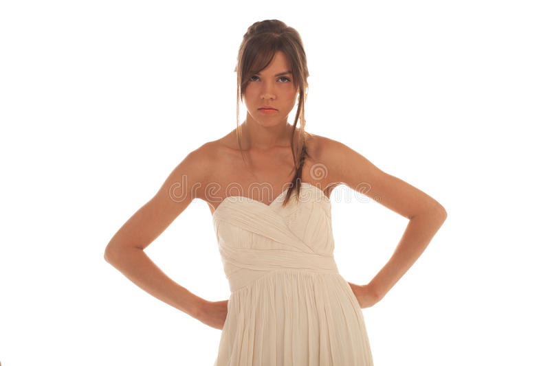 Angry woman. With arms akimbo stock photography