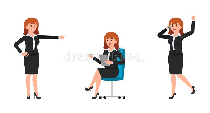 Angry woman in black business suit shouting on smartphone, pointing finger. Surprised woman sitting on chair and writing notes. royalty free illustration