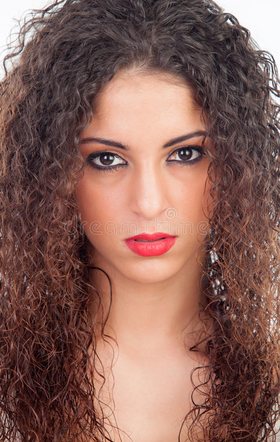 Angry woman with curly hair stock images
