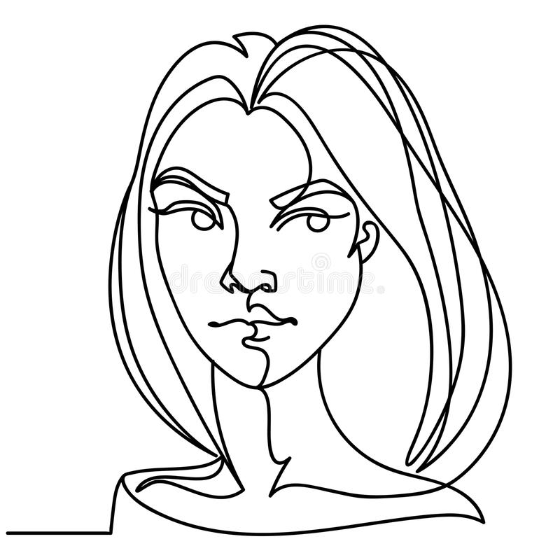 Angry Woman One Line Art Portrait. Unhappy Female Facial Expression. Hand Drawn Linear Woman Silhouette vector illustration