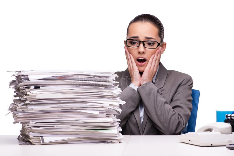 The angry woman with piles of paper on white stock photo image download the angry woman with piles of paper on white stock photo image of overtime publicscrutiny Images