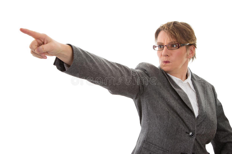 Angry woman pointing away - woman isolated on white background