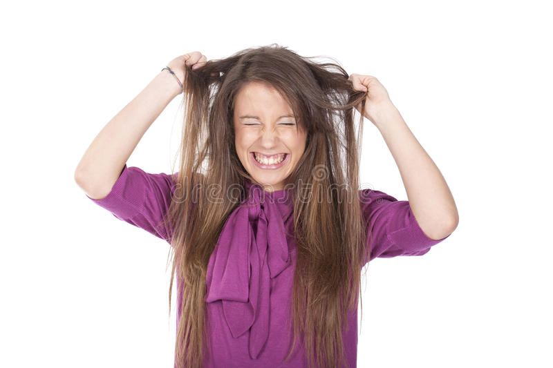 Angry woman pulling her hair royalty free stock images