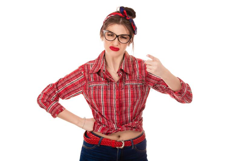 Angry woman raise hand pointing finger at you camera stock photos