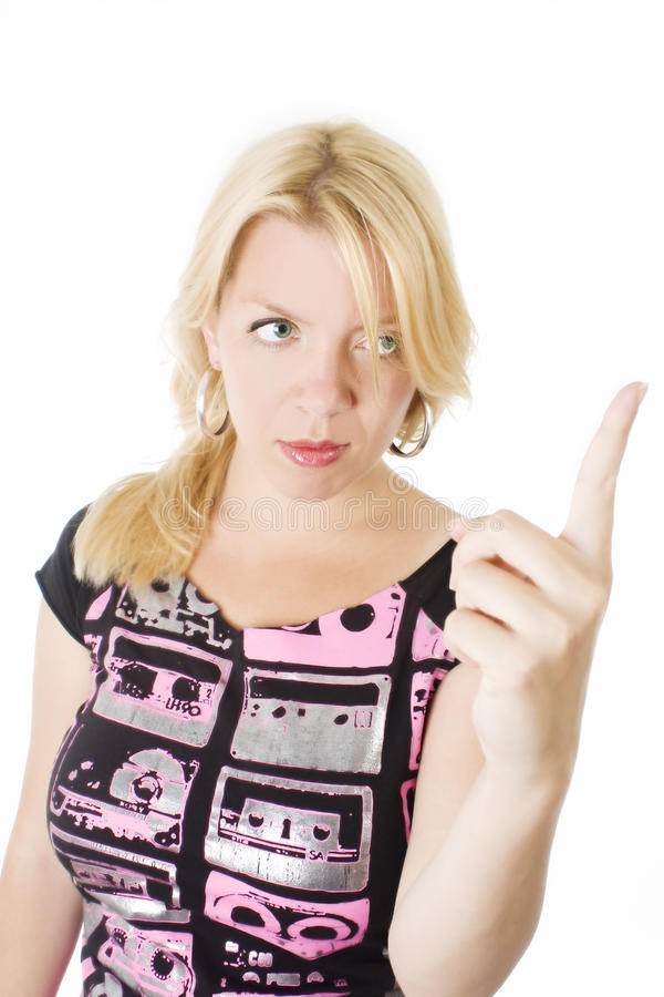Angry woman raising a finger royalty free stock photography