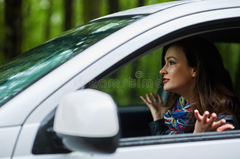 Angry woman with road rage royalty free stock image