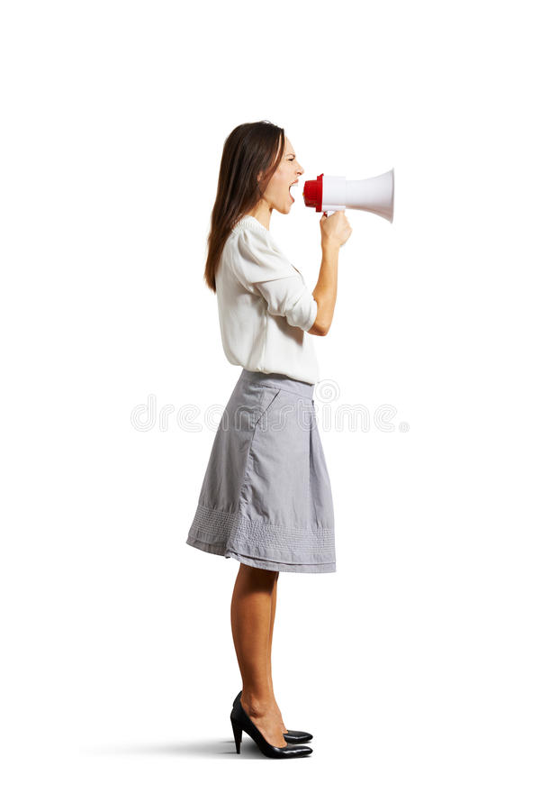 Angry Woman Shouting At Megaphone Stock Images