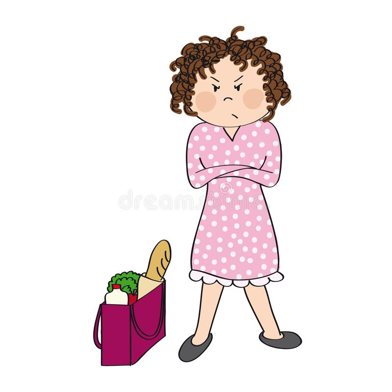 Angry woman standing with her arms crossed - original hand drawn illustration. Angry woman standing with her arms crossed, full shopping bag next to her. She is stock illustration
