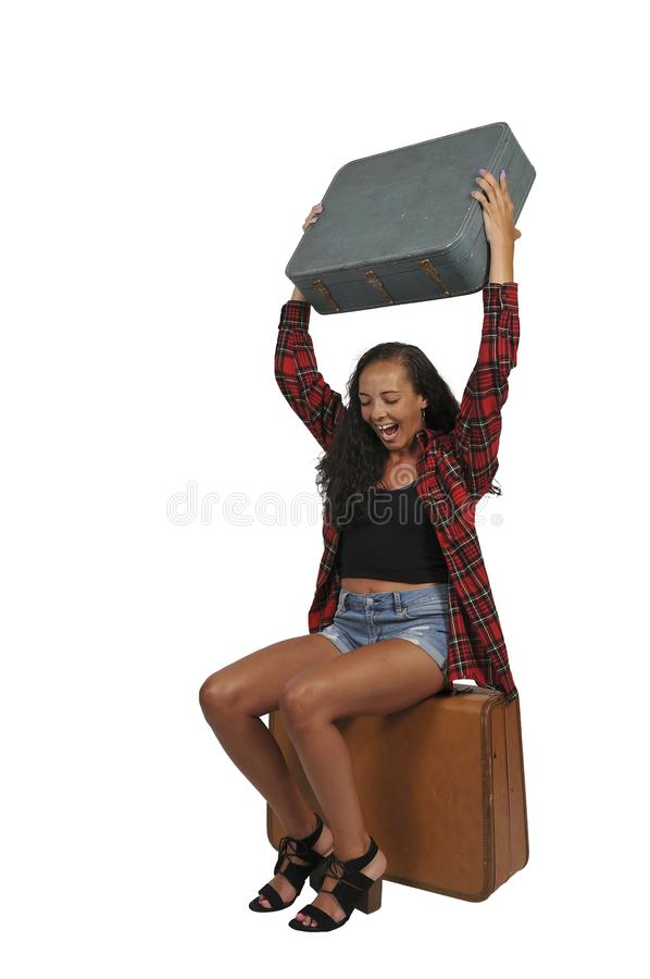 Angry woman traveling on vacation royalty free stock photos