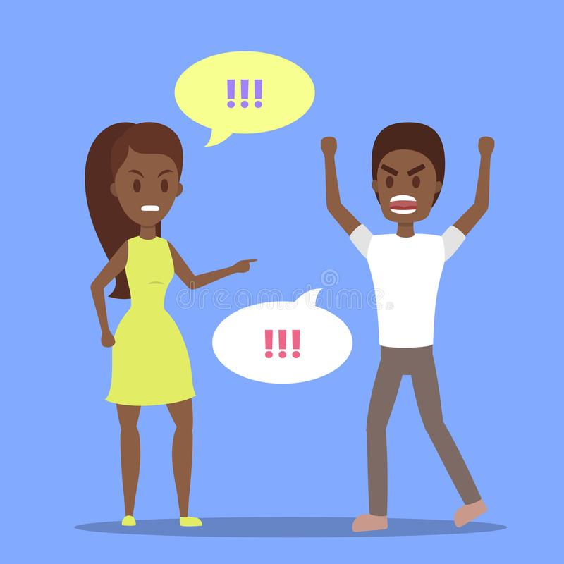 Angry woman yelling at her stressed boyfriend. Angry african american woman yelling at her stressed boyfriend. Couple fight and argue. Man shouting in anger stock illustration