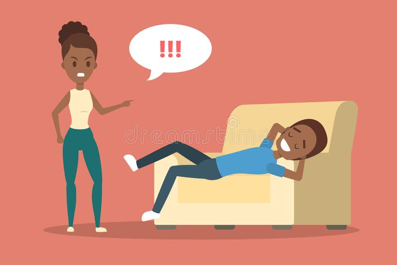 Angry woman yelling at her stressed boyfriend. Angry african american woman yelling at her boyfriend. Man lying on couch in relax. Couple fight and argue. Flat stock illustration