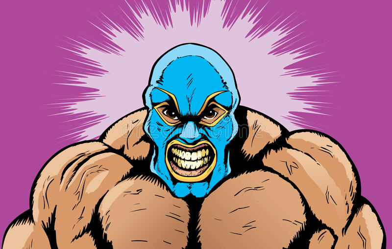 Angry wrestler. Cartoon drawing of an angry wrestler stock illustration