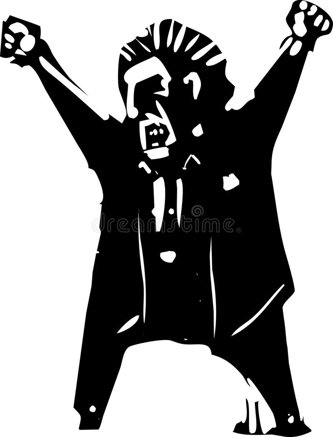 Angry Yelling Boss. Woodcut style expressionist image of an angry boss yelling vector illustration