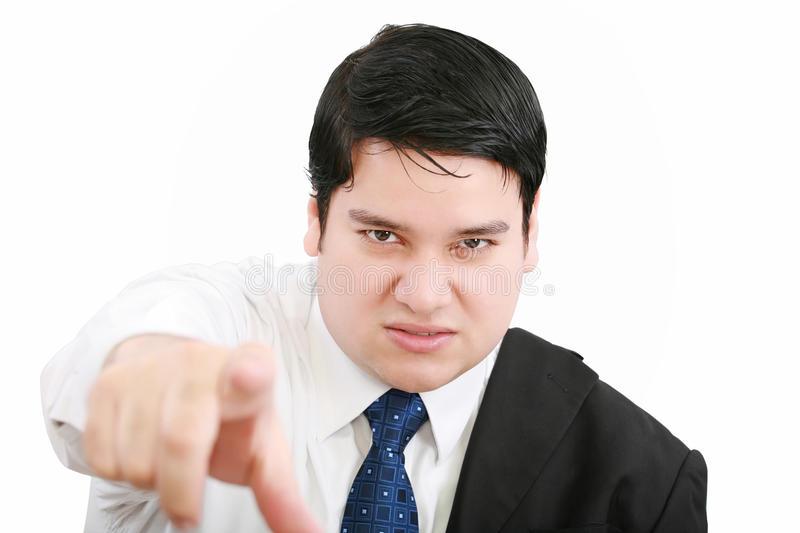 Angry young business man royalty free stock photography