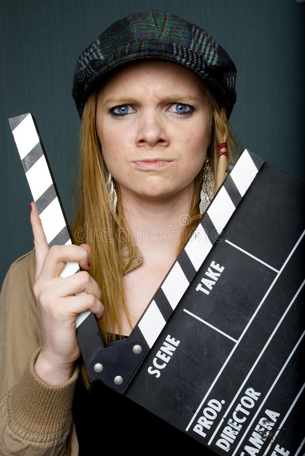 Angry Young Female Director With Slate Royalty Free Stock Photography
