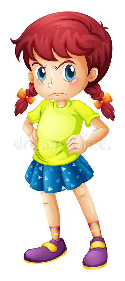 An angry young girl stock illustration