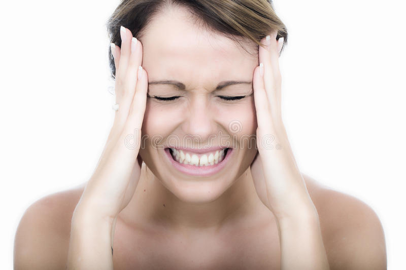 Angry Young Woman Gritting Her teeth with Frustration. Attractive Angry Young Woman Gritting Her teeth with Frustration stock photos