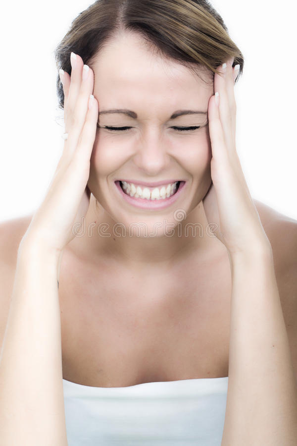 Angry Young Woman Gritting Teeth with Frustration. Attractive Angry Young Woman Gritting Teeth with Frustration royalty free stock photography