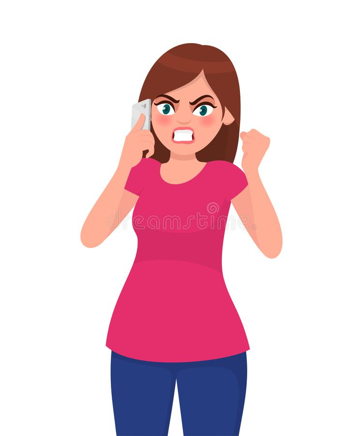 Angry young woman talking on smart phone and screaming. Modern lifestyle and communication concept illustration in cartoon. Angry young woman talking on smart vector illustration