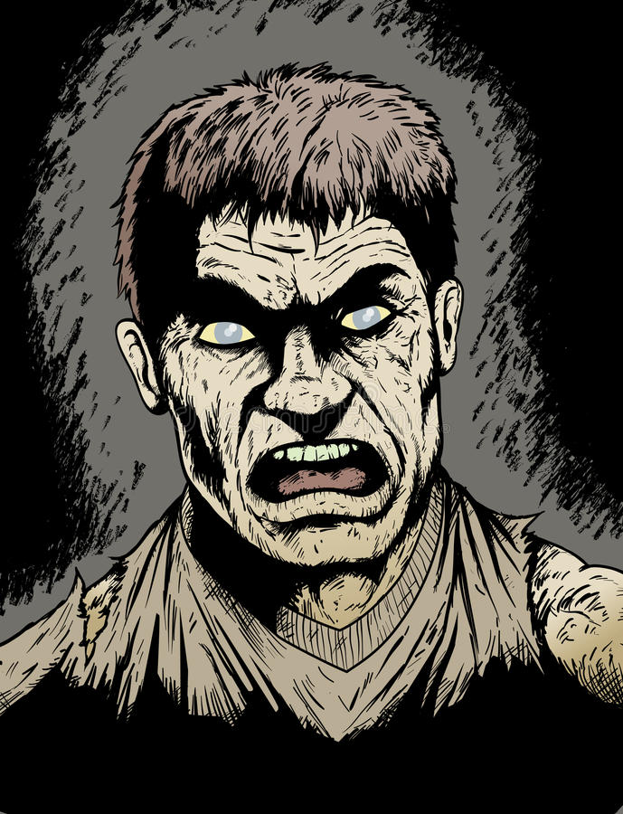 Angry Zombie. Angry, rotting Zombie hungry for human flesh royalty free illustration