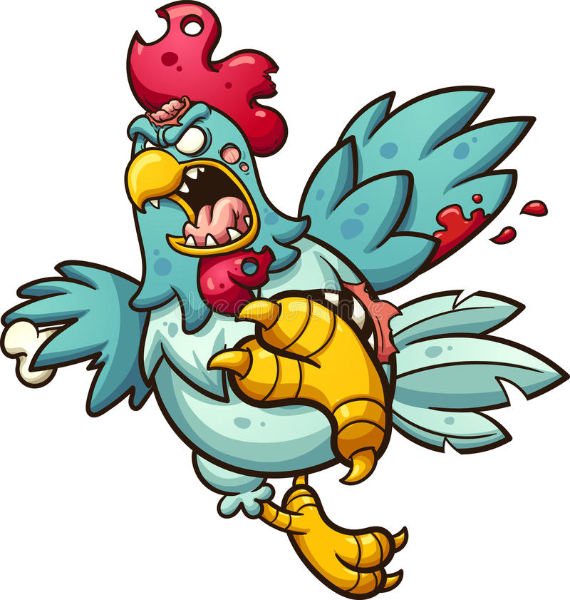 Angry zombie chicken royalty free illustration