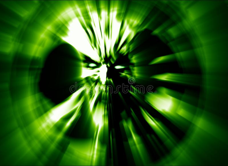 Angry zombie head green cover. Illustration in genre of horror. Image with blur effect stock illustration