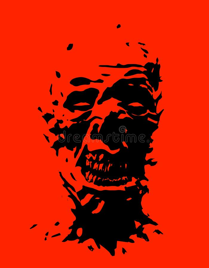 Angry zombie head. Vector illustration. royalty free illustration